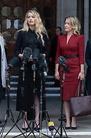 London, UK - 28 July 2020<br /> Amber Heard (L) gives statement outside The Royal Courts of Justice, with Lawyer Jennifer Robinson (R) at libel trial against The Sun, a British tabloid newspaper.<br /> CAP/JOR<br /> ©JOR/Capital Pictures