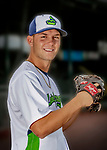 13 June 2018: Vermont Lake Monsters pitcher Chris Kohler poses for a portrait on Photo Day at Centennial Field in Burlington, Vermont. The Lake Monsters are the Single-A minor league affiliate of the Oakland Athletics, and play a short season in the NY Penn League Stedler Division. Mandatory Credit: Ed Wolfstein Photo *** RAW (NEF) Image File Available ***