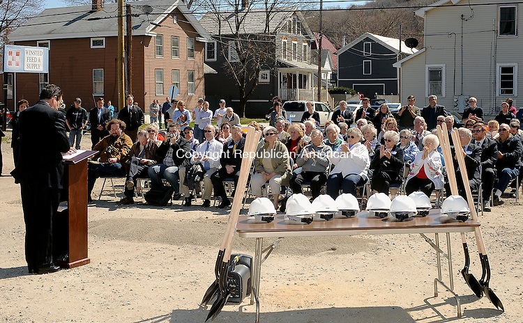WINSTED. CT, 04 APRIL  2012-040412JS02-Governor Dannel P. Malloy addresses the crowd as state and local dignitaries were on hand Wednesday for a groundbreaking ceremony on Gay Street in Winsted for a 32-unit elderly housing complex called Carriage Maker. .Jim Shannon Republican-American