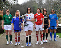 London, England. (L-R) Fiona Coughlan of Ireland, Marie Alice Yahe of France, Sarah Hunter of England, Rachel Taylor of Wales Susie Brown of Scotland and Silvia Gaudino of Italy pose with the Women's Six Nations trophy during the RBS Six Nations launch at The Hurlingham Club on January 23, 2013 in London, England.
