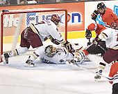 Peter Harrold, Cory Schneider, Ryan Ginand, Joe Vitale, Stephen Gionta - The Boston College Eagles defeated the Northeastern University Huskies 5-2 in the opening game of the 2006 Beanpot at TD Banknorth Garden in Boston, MA, on February 6, 2006.