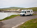 Motorhome parked on Atlantic coastline at Borgh, Barra, Outer Hebrides, Scotland, UK