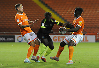 Macclesfield Town's Virgil Gomis under pressure from Blackpool's Harry Pritchard (left) and Rocky Bushiri<br /> <br /> Photographer Kevin Barnes/CameraSport<br /> <br /> The Carabao Cup First Round - Blackpool v Macclesfield Town - Tuesday 13th August 2019 - Bloomfield Road - Blackpool<br />  <br /> World Copyright © 2019 CameraSport. All rights reserved. 43 Linden Ave. Countesthorpe. Leicester. England. LE8 5PG - Tel: +44 (0) 116 277 4147 - admin@camerasport.com - www.camerasport.com