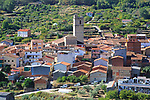 Looking down on rooftops of nucleated village Garganta la Olla, La Vera, Extremadura, Spain