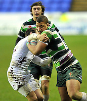 READING, ENGLAND : Guy Armitage of London Irish tackled during the Amlin Challenge Cup match between London Irish and Bordeaux-Begles at Madejski Stadium on January 18, 2013 in Reading, England.