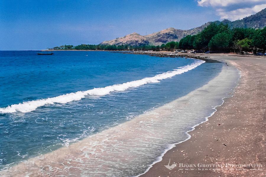 Bali, Buleleng. The beaches on northern Bali consist of dark volcanic sand. Close to Pemuteran.