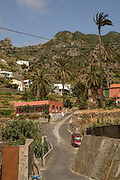 Terraced fields and homes, Vallehermosa, La Gomera, Canary Islands, Spain