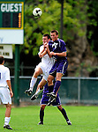 13 September 2009: University of Portland Pilots' midfielder Jarad vanSchaik (21), a Junior from Tualatin, OR, jumps high to get a header against the University of New Hampshire Wildcats in the second round of the 2009 Morgan Stanley Smith Barney Soccer Classic held at Centennial Field in Burlington, Vermont. The Pilots defeated the Wildcats 1-0 and inso doing were the Tournament Champions for 2009. Mandatory Photo Credit: Ed Wolfstein Photo