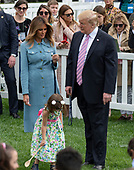 United States President Donald J. Trump and First lady Melania Trump participate in the White House Easter Egg Roll on the South Lawn of the White House in Washington, DC on April 22, 2019.  The White House Easter Egg Roll is a tradition that dates from 1878 and the presidency of US President Rutherford B. Hayes.<br /> Credit: Ron Sachs / CNP<br /> (RESTRICTION: NO New York or New Jersey Newspapers or newspapers within a 75 mile radius of New York City)