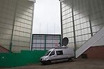 A television satellite van parked outside Easter Road stadium before the Scottish Championship match between Hibernian and visitors Alloa Athletic. The home team won the game by 3-0, watched by a crowd of 7,774. It was the Edinburgh club's second season in the second tier of Scottish football following their relegation from the Premiership in 2013-14.