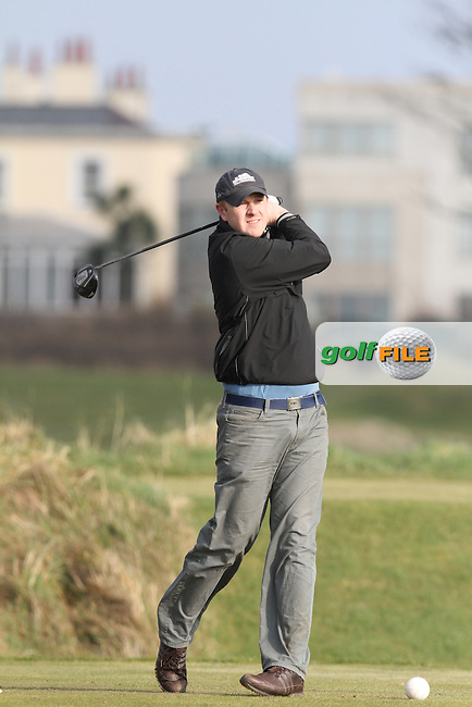 Brian McSweeney (Woodbrook) on the 4th tee at the Hilary Golf Society at Portmarnock Hotel and Golf Links, Co.Dublin...(Photo Jenny Matthews/www.golffile.ie)