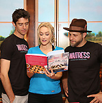 "Drew Gehling, Betsy Wolfe and Joe Tippett from the cast of ""Waitress"" celebrate 'Sugar, Butter, Flour: The Waitress Pie Cookbook at The Brooks Atkinson Theatre on June 27, 2017 in New York City."