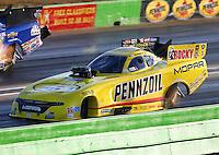 Oct 17, 2015; Ennis, TX, USA; NHRA funny car driver Matt Hagan during qualifying for the Fall Nationals at the Texas Motorplex. Mandatory Credit: Mark J. Rebilas-USA TODAY Sports
