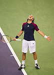 SHANGHAI, CHINA - OCTOBER 15:  Juan Monaco of Argentina celebrates match point to Jurgen Melzer of Austria during day five of the 2010 Shanghai Rolex Masters at the Shanghai Qi Zhong Tennis Center on October 15, 2010 in Shanghai, China.  (Photo by Victor Fraile/The Power of Sport Images) *** Local Caption *** Juan Monaco