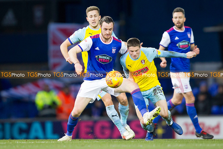 Will Keane of Ipswich Town outmuscles Ben Wiles of Rotherham United for the ball during Ipswich Town vs Rotherham United, Sky Bet EFL Championship Football at Portman Road on 12th January 2019