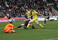 Danny Mullen is crowded out by Craig Halkett (26) and Jackson Longridge with \l1 beaten in the St Mirren v Livingston Scottish Professional Football League Ladbrokes Championship match played at the Paisley 2021 Stadium, Paisley on 14.4.18.