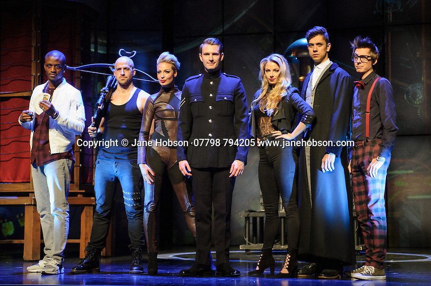 London, UK. 12.07.2016. Jamie Hendry and Gavin Kalin Productions present IMPOSSIBLE, at the Noel Coward Theatre. Following its West End season last year, the magic show returns to London this summer, running from Friday 8th July to Saturday 27th August. Opening night is Wednesday 13th July. The magicians are, left to right: Magical Bones, Jonathan Goodwin, Sabine van Diemen, Lance Corporal Richard Jones (winner of Britain's Got Talent 2016), Josephine Lee, Ben Hart, Chris Cox. Photograph © Jane Hobson.