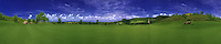 Golfing, Panorama, Green, Flag, Flagstick, Cloudy Blue Sky, Golf Tractor