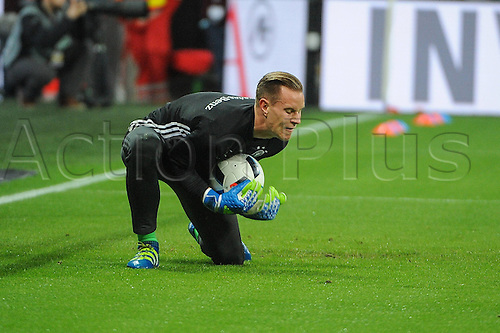 29.03.2016. Munich, Germany. International soccer match between Germany and Italy, at the Allianz Arena.  Keeper Marc-Andre ter Stegen (Germany) warms up