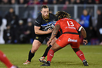 Max Lahiff of Bath Rugby faces off against Mathieu Bastareaud of RC Toulon. European Rugby Champions Cup match, between Bath Rugby and RC Toulon on December 16, 2017 at the Recreation Ground in Bath, England. Photo by: Patrick Khachfe / Onside Images