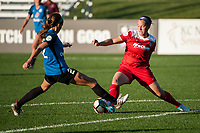 Kansas City, MO - Saturday May 27, 2017: Shea Groom, Whitney Church during a regular season National Women's Soccer League (NWSL) match between FC Kansas City and the Washington Spirit at Children's Mercy Victory Field.