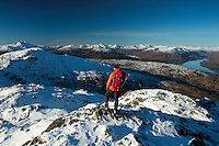 Ben Lomond, Loch Katrine and the Arrochar Alps from Ben Venue, Southern Highlands, Loch Lomond and the Trossachs National Park, Stirlingshire