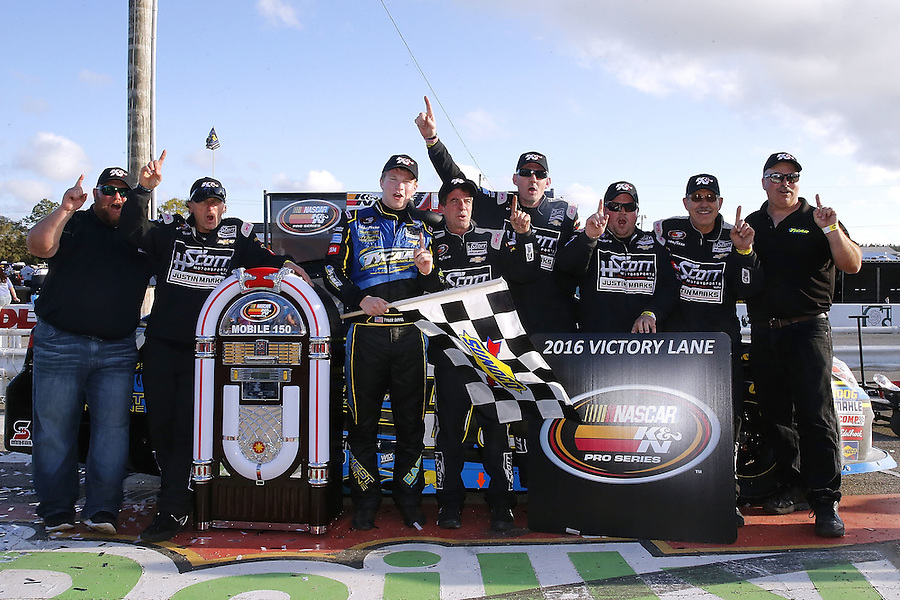 MOBILE, AL - MARCH 13: Tyler Dippel, driver of the #38 East West Marine/TyCar Chevrolet, celebrates with his team after winning the NASCAR K&N Pro Series East Mobile 150 on March 13, 2016 in Mobile, Alabama.  (Photo by Jonathan Bachman/NASCAR via Getty Images)