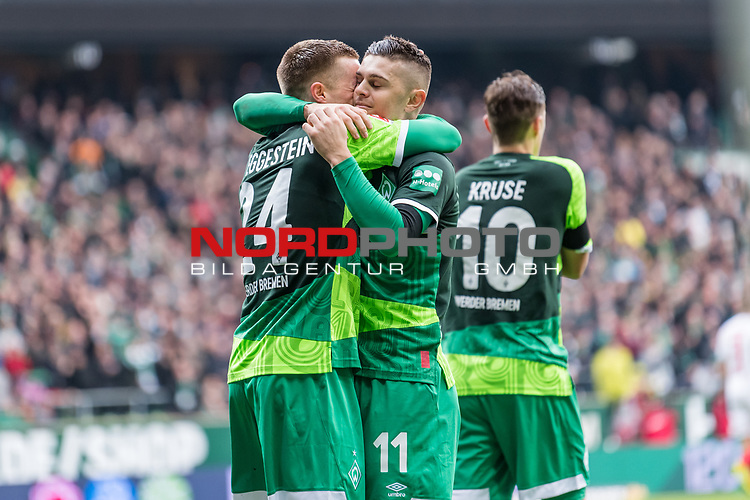 10.02.2019, Weserstadion, Bremen, GER, 1.FBL, Werder Bremen vs FC Augsburg<br /> <br /> DFL REGULATIONS PROHIBIT ANY USE OF PHOTOGRAPHS AS IMAGE SEQUENCES AND/OR QUASI-VIDEO.<br /> <br /> im Bild / picture shows<br /> Milot Rashica (Werder Bremen #11) bejubelt seinen Treffer zum 3:0 mit Johannes Eggestein (Werder Bremen #24), <br /> <br /> Foto &copy; nordphoto / Ewert
