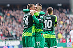10.02.2019, Weserstadion, Bremen, GER, 1.FBL, Werder Bremen vs FC Augsburg<br /> <br /> DFL REGULATIONS PROHIBIT ANY USE OF PHOTOGRAPHS AS IMAGE SEQUENCES AND/OR QUASI-VIDEO.<br /> <br /> im Bild / picture shows<br /> Milot Rashica (Werder Bremen #11) bejubelt seinen Treffer zum 3:0 mit Johannes Eggestein (Werder Bremen #24), <br /> <br /> Foto &copy; nordphoto / Ewert