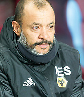 30th October 2019; Villa Park, Birmingham, Midlands, England; English Football League Cup, Carabao Cup, Aston Villa versus Wolverhampton Wanderers; Wolverhampton Wanderers Head Coach Nuno Espirito Santo watches his players on the field before the match  - Strictly Editorial Use Only. No use with unauthorized audio, video, data, fixture lists, club/league logos or 'live' services. Online in-match use limited to 120 images, no video emulation. No use in betting, games or single club/league/player publications