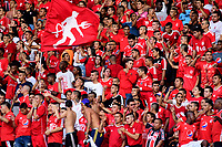 CALI - COLOMBIA, 12- 05-2019: Hinchas de América de Cali de Cali, animan a su equipo, durante partido entre América de Cali y Millonarios, de la fecha 1 de los cuadrangulares semifinales por la Liga Águila I 2019 jugado en el estadio Pascual Guerrero de la ciudad de Cali. / Fans of America de Cali, cheer for their team, during a match between America de Cali and Millonarios, of the 1st date of the semifinals quarters for the Aguila Leguaje I 2019 at the Pascual Guerrero stadium in Cali city. Photo: VizzorImage / Nelson Ríos / Cont.