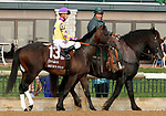 """October 07, 2018 : #13 Mick's Star and jockey Corey Lanerie before the 28th running of The Dixiana Bourbon (Grade 3) $250,000 """"Win and You're In Breeders' Cup Juvenile Turf Division"""" for trainer Todd Pletcher and owner Eclipse Thoroughbred and Robert LaPenta at Keeneland Race Course on October 07, 2018 in Lexington, KY.  Candice Chavez/ESW/CSM"""
