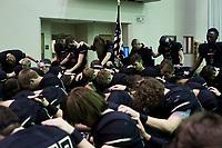 NWA Democrat-Gazette/CHARLIE KAIJO Bentonville High School players pray during a football game, Friday, November 2, 2018 at Bentonville High School in Bentonville.