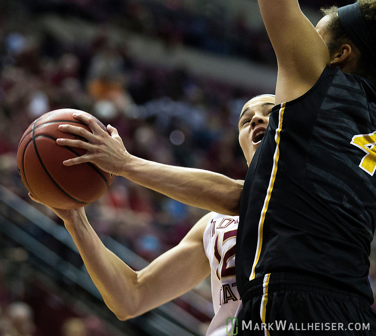 Florida State guard Brittany Brown shoots against Missouri forward Cierra Porter during the second half of a second-round game of the NCAA women's college basketball tournament in Tallahassee, Fla., Sunday, March 19, 2017. Florida State defeated Missouri 77-55. (AP Photo/Mark Wallheiser)