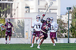Los Angeles, CA 03/08/10 - Jack Tanenbaum (FSU # 29) , Magnus Karlsson (LMU # 17), Matt Dumbleton (FSU # 28) and Tim Samiento (LMU # 24)  in action during the Florida State-LMU MCLA interconference men's lacrosse game at Leavey Field (LMU).  Florida State defeated LMU 12-7.