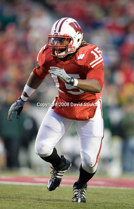 MADISON, WI - NOVEMBER 22: Linebacker Culmer St.Jean #15 of the Wisconsin Badgers plays defense against the Cal Poly Mustangs at Camp Randall Stadium on November 22, 2008 in Madison, Wisconsin. Wisconsin beat Cal Poly 36-35 in overtime. (Photo by David Stluka)