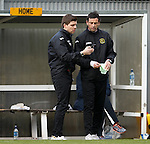 Colin McLelland and Jack Ross getting texts from banned manager Ian Murray in the main stand