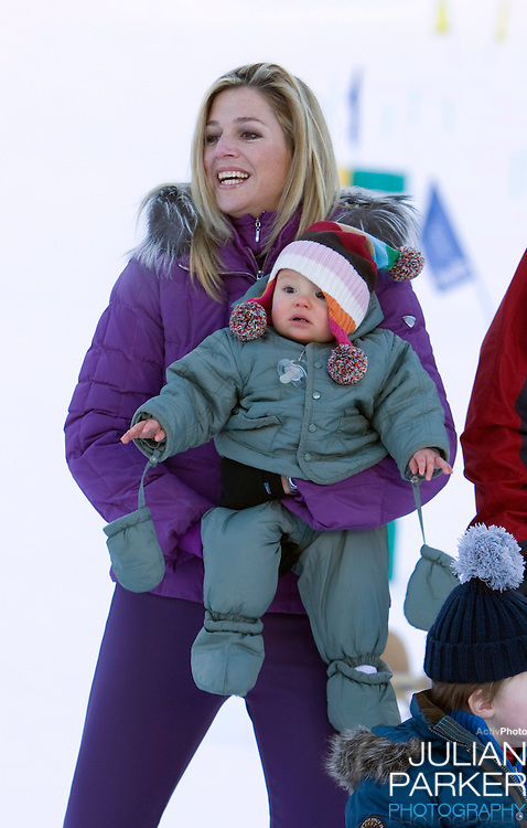 Crown Prince Willem Alexander, and Crown Princess Maxima of Holland with Daughters Princess Alexia, Princess Catharina Amalia, and Princess Ariane attend a Photocall with Members of The Dutch Royal Family during their Winter Ski Holiday in Lech Austria