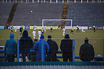 Home supporters watching action from the second-half as Greenock Morton (in hoops) take on Stranraer in a Scottish League One match at Cappielow Park, Greenock. The match was between the top two teams in Scotland's third tier, with Morton winning by two goals to nil. The attendance was 1,921, above average for Morton's games during the 2014-15 season so far.