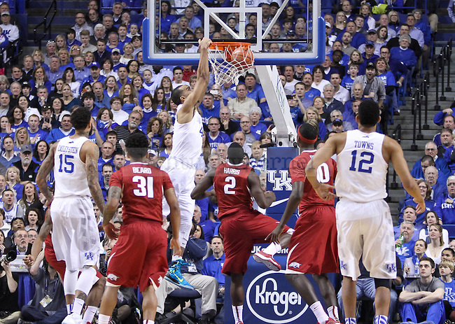 Kentucky forward Try Lyles dunks the ball during the first half of the University of Kentucky vs. Arkansas at Rupp Arena in Lexington , Ky., on Saturday, February 28, 2015. Photo by Jonathan Krueger | Staff