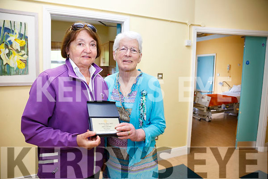 Anne Bowler and Eileen O'Connor both received a 'Sunflower Hero' award from RTE's Mary Kennedy for their outstanding dedication to Kerry Hospice pictured here in the Suaimhneas Hospice unit in St Anne's Hospital in Cahersiveen.