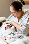 WATERBURY, CT- 01 JAN 2008- 010108JT13-<br /> Jillian Mattei tends to her newborn son, Amaire White, who was born at 12:46 a.m. at Waterbury Hospital on Tuesday, New Year's Day. <br /> Josalee Thrift / Republican-American