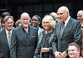 Camilla, the Duchess of Cornwall, wife of Britain's Prince Charles, poses for a photo with the actors on stage during a visit to the Shakespeare Theatre Company at Sidney Harman Hall in Washington, D.C. on Wednesday, March 18, 2015.  From left to right: Richard Thomas, Anthony Warlow, Camilla, the Duchess of Cornwall, and Michael Kahn.<br /> Credit: Ron Sachs / CNP