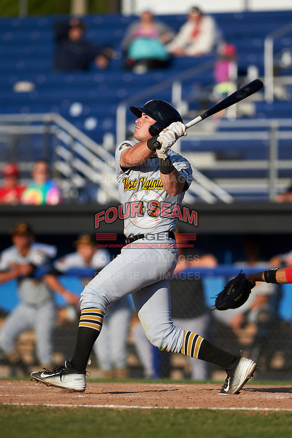West Virginia Black Bears right fielder Kevin Krause (62) at bat during a game against the Batavia Muckdogs on August 21, 2016 at Dwyer Stadium in Batavia, New York.  West Virginia defeated Batavia 6-5.  (Mike Janes/Four Seam Images)