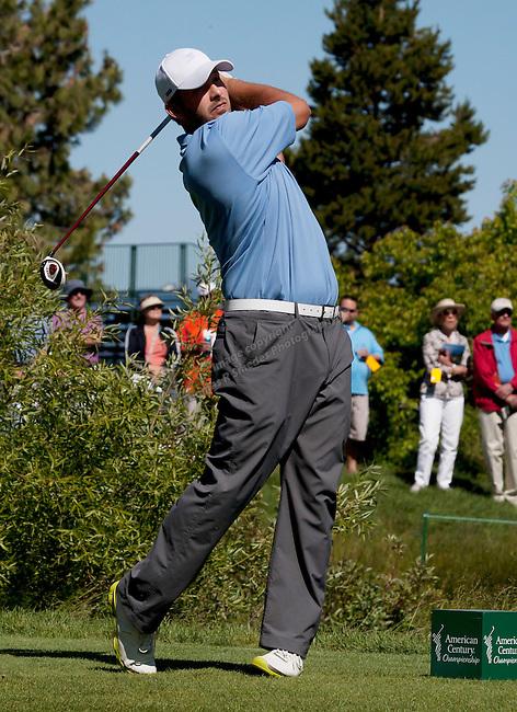 Tony Romo tees off at the American Century Championship at Lake Tahoe Staurday July 16. Tom Smedes/RGJ