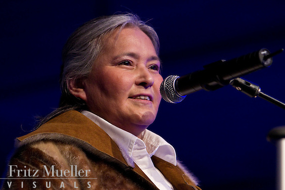 Iqaluit Mayor Elisapee Sheutiapik speaking at gala event at the 2010 Vancouver Olympics