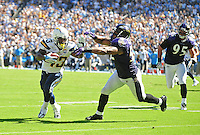 Sep. 20, 2009; San Diego, CA, USA; San Diego Chargers running back (43) Darren Sproles runs from Baltimore Ravens linebacker (52) Ray Lewis in the second quarter at Qualcomm Stadium in San Diego. Mandatory Credit: Mark J. Rebilas-