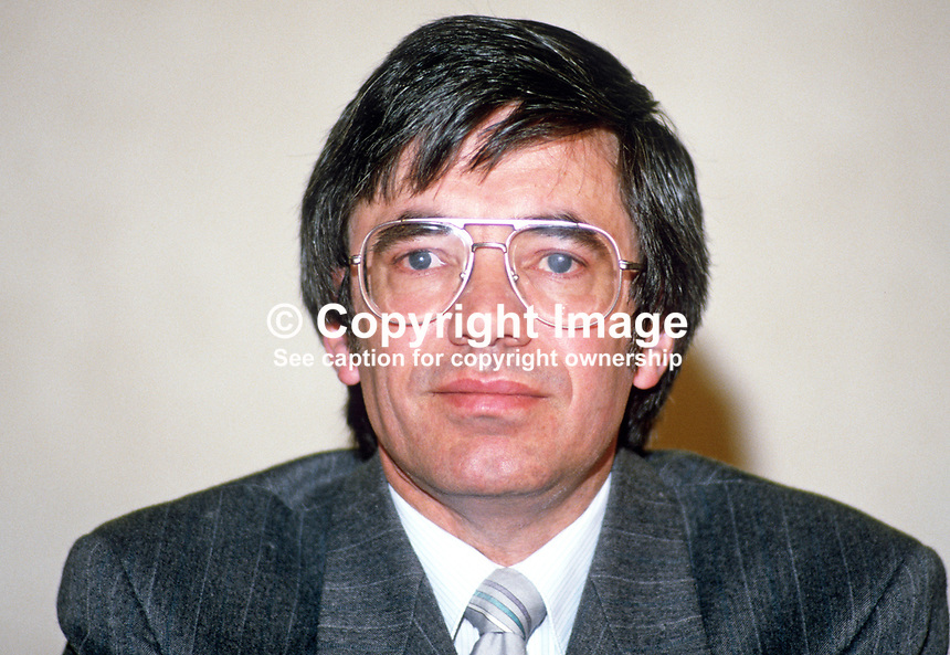 Gordon Mawhinney, deputy leader, Alliance Party of N Ireland, 19880401GM.<br /> <br /> Copyright Image from Victor Patterson, 54 Dorchester Park, <br /> Belfast, UK, BT9 6RJ<br /> <br /> t1: +44 28 9066 1296 (from Rep of Ireland 048 9066 1296)<br /> t2: +44 28 9002 2446 (from Rep of Ireland 048 9002 2446)<br /> m: +44 7802 353836<br /> <br /> e: victorpatterson@me.com<br /> www.victorpatterson.com<br /> <br /> Please see my Terms and Conditions of Use at www.victorpatterson.com. It is IMPORTANT that you familiarise yourself with them.<br /> <br /> Images used on the Internet must be visibly watermarked i.e. &copy; Victor Patterson<br /> within the body of the image and copyright metadata must not be deleted. Images <br /> used on the Internet have a size restriction of 4kbs and will be chargeable at current<br />  NUJ rates unless agreed otherwise.<br /> <br /> This image is only available for the use of the download recipient i.e. television station, newspaper, magazine, book publisher, etc, and must not be passed on to any third <br /> party. It is also downloaded on condition that each and every usage is notified within 7 days to victorpatterson@me.com<br /> <br /> The right of Victor Patterson to be identified as the author is asserted in accordance with The Copyright Designs And Patents Act (1988). All moral rights are asserted.