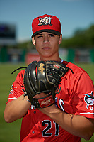 Batavia Muckdogs Eli Villalobos (21) poses for a photo before a NY-Penn League game against the West Virginia Black Bears on June 26, 2019 at Dwyer Stadium in Batavia, New York.  Batavia defeated West Virginia 4-2.  (Mike Janes/Four Seam Images)