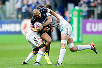Jonathan Joseph of Bath Rugby takes on the Brive defence. European Rugby Challenge Cup Quarter Final, between Bath Rugby and CA Brive on April 1, 2017 at the Recreation Ground in Bath, England. Photo by: Patrick Khachfe / Onside Images